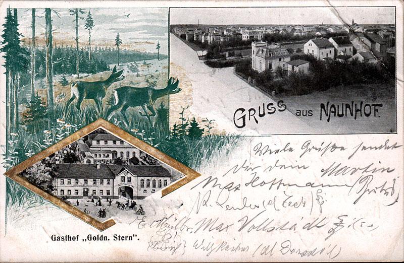 """Ansichten von Naunhof, Postkarte Stempel 1907. In der Vignette unten links der Gasthof """"Goldener Stern"""" in dessen Räumen die Gewerbe-ausstellung stattfand."""