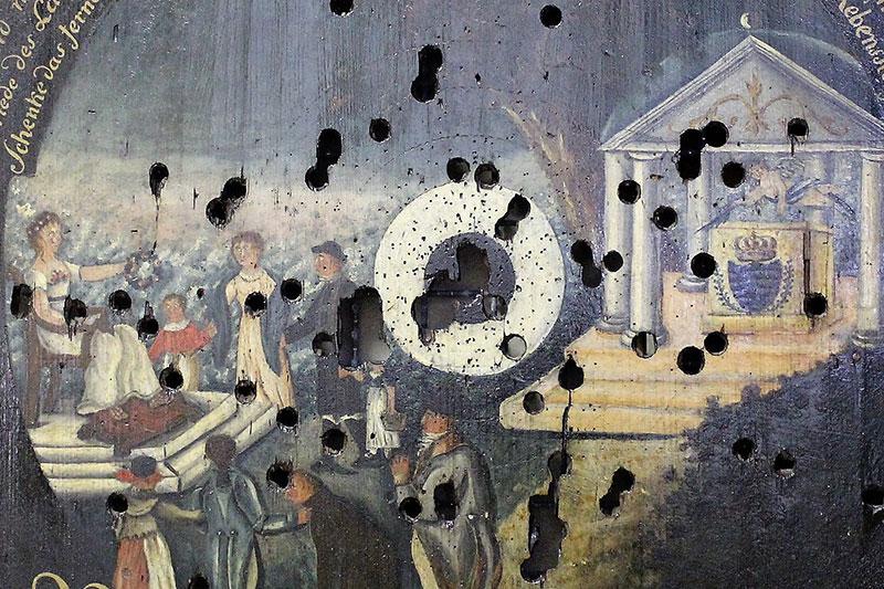 Königsscheibe vom Schützenfest 1820 (Ausschnitt) (Kreismuseum Grimma)