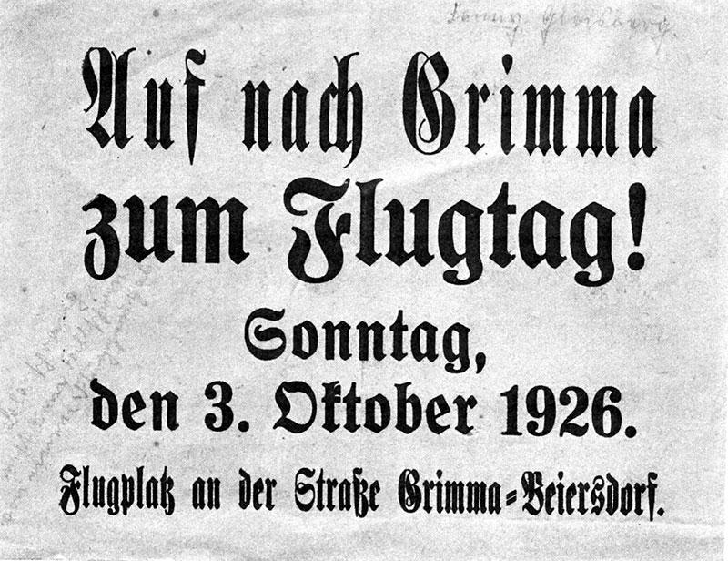 Werbezettel zum Flugtag 1926 in Grimma (Repro).Am Vortag der Veranstaltung warf ein Flugzeug der Aero-Expreß solche Flugblätter über Grimma und den umliegenden Gemeinden ab.