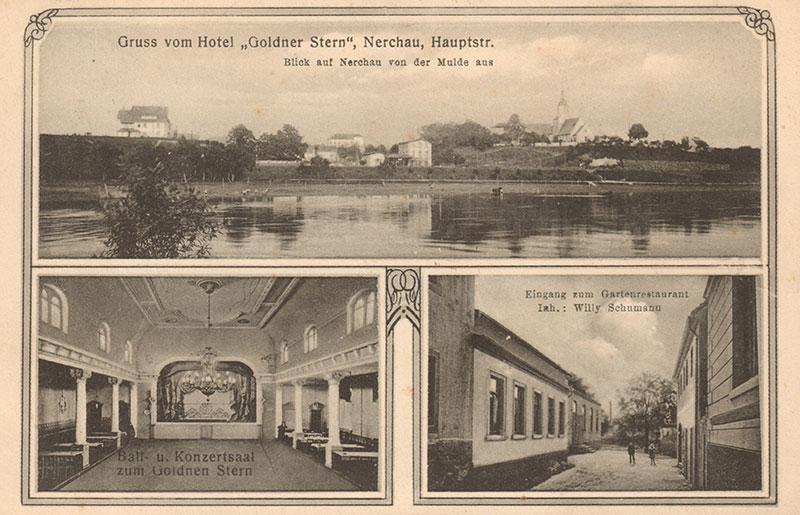 Der Gasthof zum Goldenen Stern, Postkarte um 1910 (Peter Fricke). Im großen Ballsaal l. u. war der größte Teil der Ausstellung untergebracht.