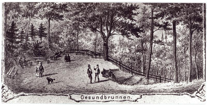 Platz oberhalb des Gesundbrunnens, Lithographie um 1840 (Kreismuseum)