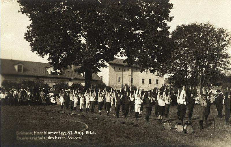 Vorführung der Exerzierschule am Kornblumentag, Postkarte 31.8.1913 (Kreismuseum)