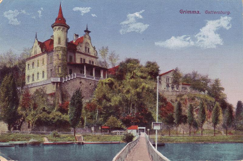 Tonnenbrücke mit Gattersburg, Postkarte um 1910 (Peter Fricke). Im Vordergrund die im Märchen beschriebene Warntafel.